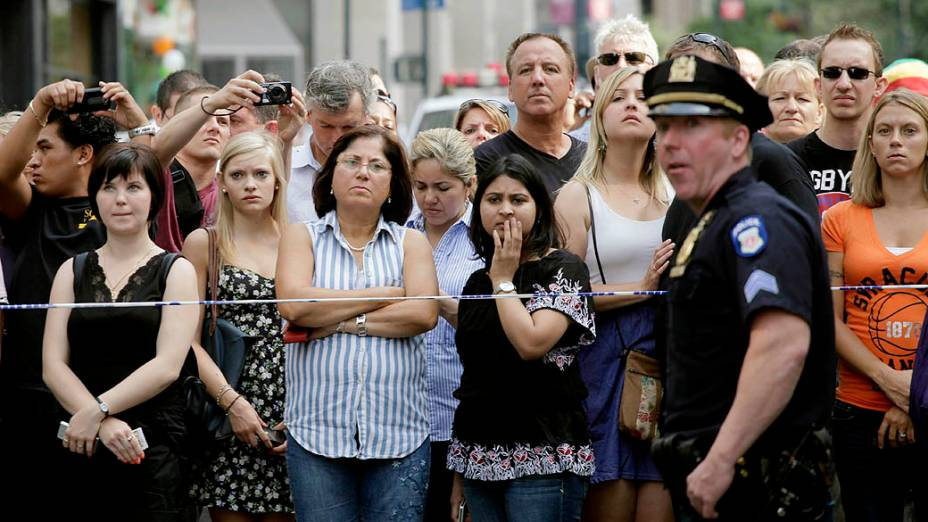 Barreira policial no local do tiroteio em Nova York, após a tragédia