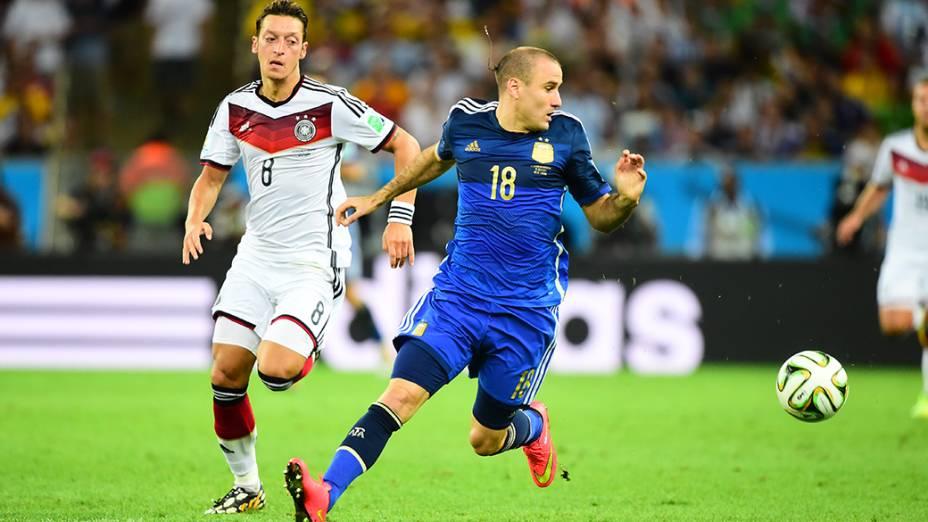 O argentino Palacio durante o jogo contra a Alemanha na final da Copa no Maracanã, no Rio