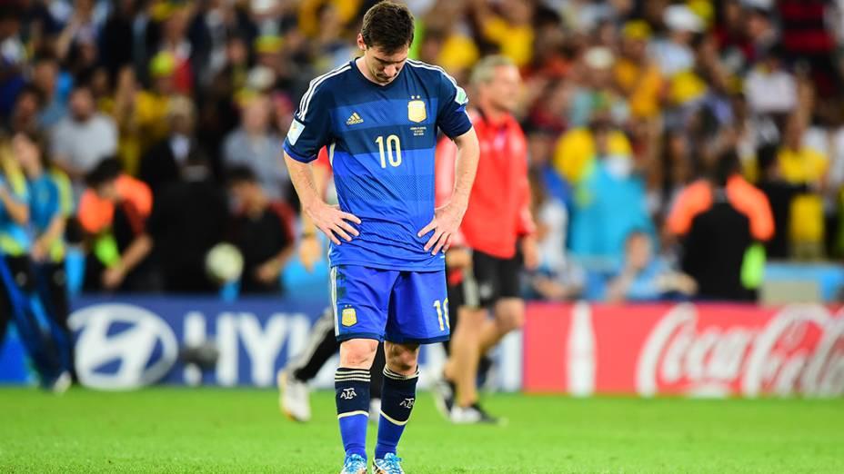Messi reage ao gol da Alemanha na final da Copa no Maracanã, no Rio