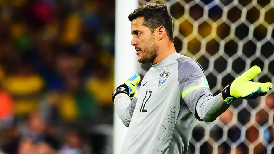 Júlio César reage ao gol da Alemanha no Mineirão, em Belo Horizonte