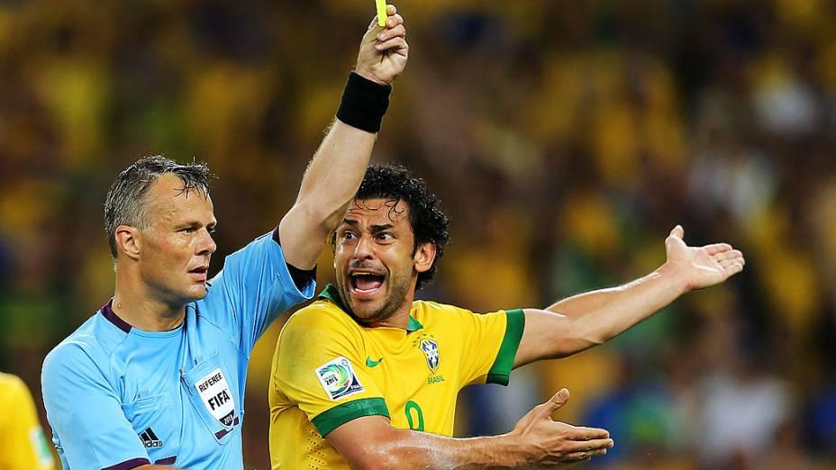 Fred no estádio Maracanã durante final da Copa das Confederações entre Brasil e Espanha, no Rio de Janeiro