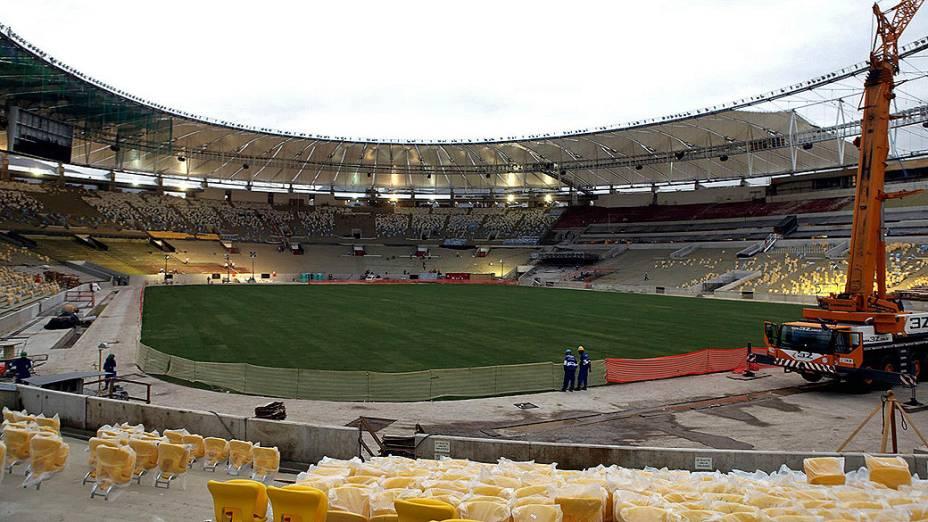 O estádio Maracanã chegou a 92% das obras de reforma e adequação para sediar a Copa das Confederações e a Copa do Mundo, conforme informações divulgadas pelo governo do Rio de Janeiro nesta sexta-feira (22)