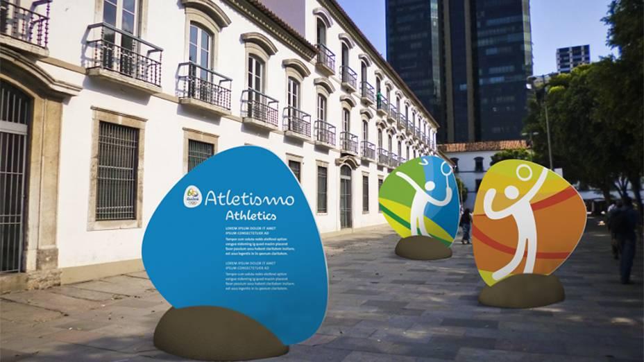A cidade também se efeita para a chegada dos Jogos. Estudo mostra painéis no Paço Imperial, centro da cidade