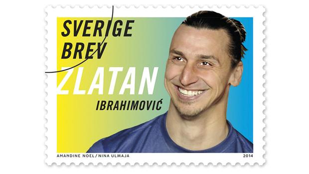 Folheto lançado pelos Serviços postais suecos mostra selo do jogador Zlatan Ibrahimovic, que será apresentado em 27 de março de 2014