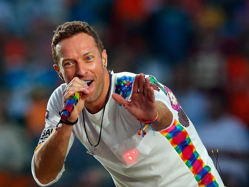 Show do Coldplay durante o intervalo do Super Bowl, na Califórnia
