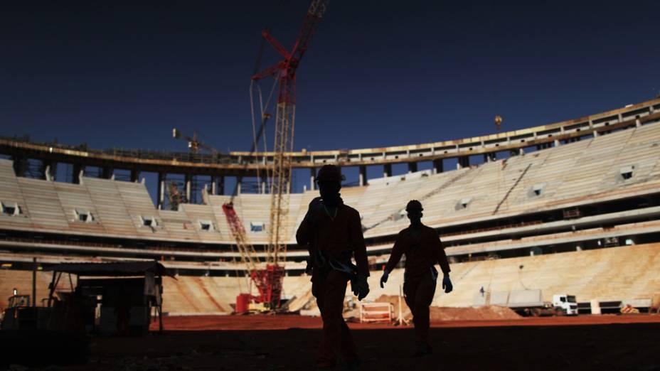Obras do estádio Mané Garrincha, em Brasília, que receberá partidas da Copa 2014