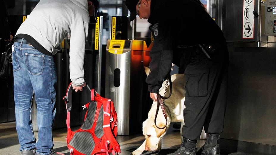 Cão da polícia fareja bolsa na estação de metrô Back Bay em Boston