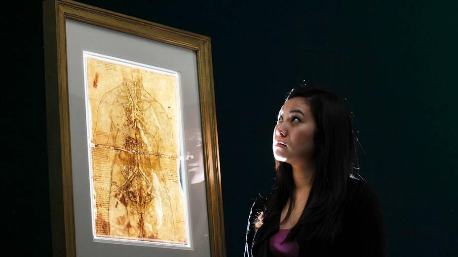<p>Desenho do sistema cardiovascular e dos órgãos principais de uma mulher feito em 1509 por Leonardo Da Vinci</p>