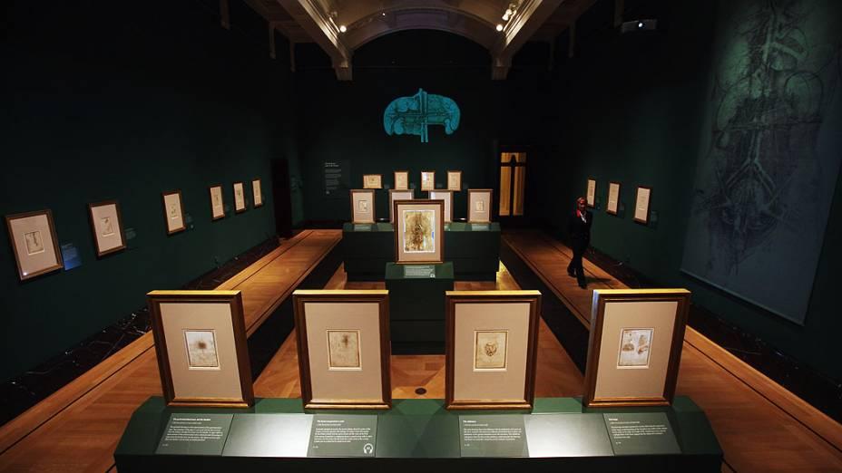 <p>Visão geral da Queens Gallery onde estarão expostos até Outubro, desenhos realizados por Leonardo Da Vinci para estudar o corpo humano</p>