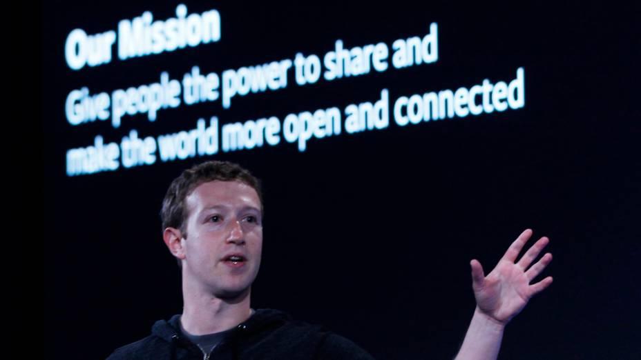 Mark Zuckerberg, durante coletiva de imprensa em Menlo Park, Califórnia