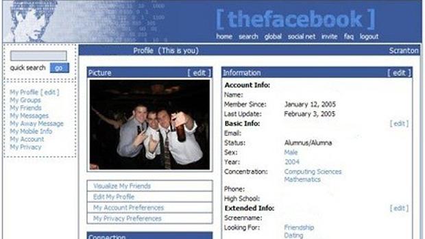 Primeira versão do Facebook, em 2004: era o início da criação de um gigante da internet