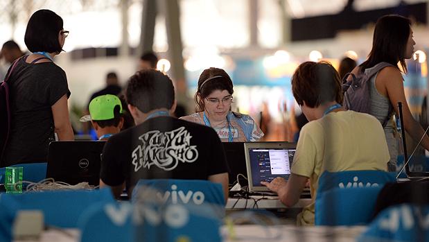 Movimentação no primeiro dia da 7ª Campus Party, no Anhembi, em São Paulo