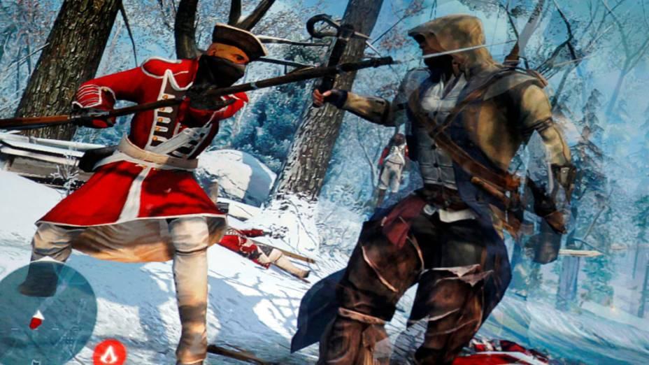 """Cena do novo jogo """"Assassins Creed III"""" é apresentado para imprensa, em Los Angeles"""