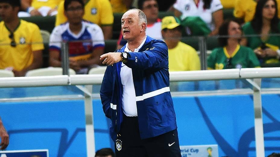 O técnico Luiz Felipe Scolari durante o jogo contra o México, em Fortaleza