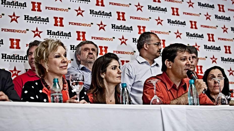 O candidato à Prefeitura de SP pelo PT, Fernando Haddad durante coletiva de imprensa após resultado da apuração nas eleições