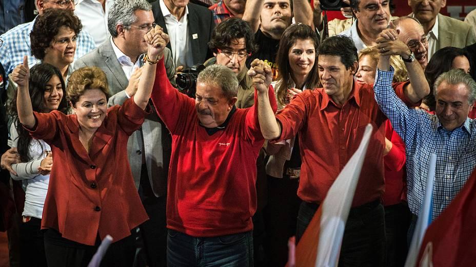 Fernando Haddad faz comício com a presença de Lula e Dilma Rousseff, em 20/10/2012