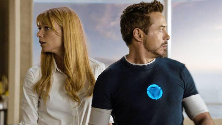 Gwyneth Paltrow e Robert Downey Jr. em cena do filme Homem de Ferro 3