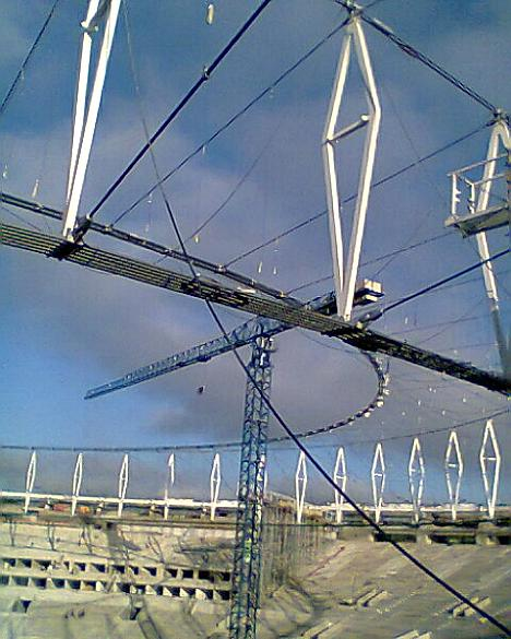Estrutura do novo teto do Maracanã, tirada no dia 23 de janeiro de 2013