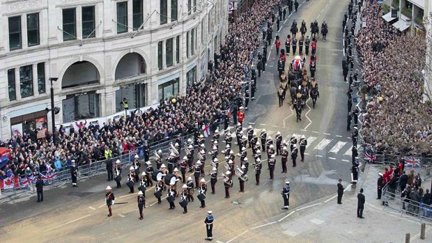 Cortejo fúnebre da ex-primeira-ministra britânica Margaret Thatcher, em Londres
