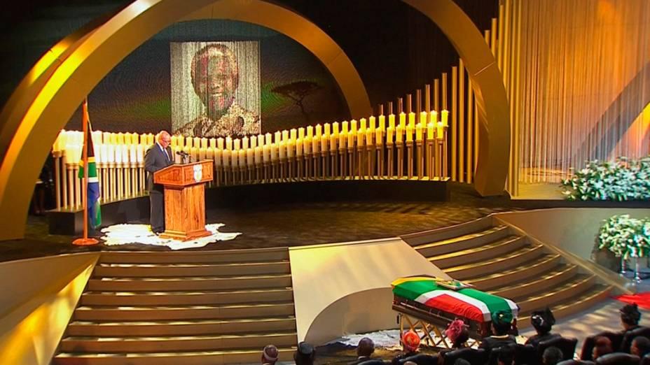 Zuma, presidente da África so Sul, faz discurso no funeral de Nelson Mandela