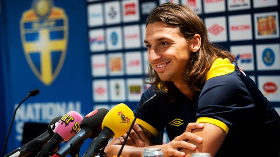 Atacante da seleção sueca, Zlatan Ibrahimovic durante coletiva de imprensa antes do amistoso contra o Brasil em Estocolmo