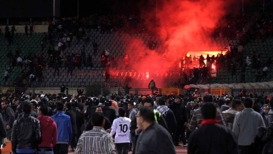 Confronto durante a partida entre Al Masry e Al Ahly válida pelo Campeonato Egípcio
