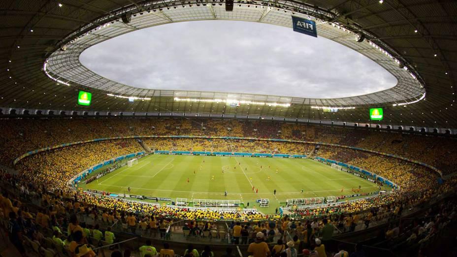 Vista geral da Arena Castelão durante o jogo entre Brasil e México, em Fortaleza