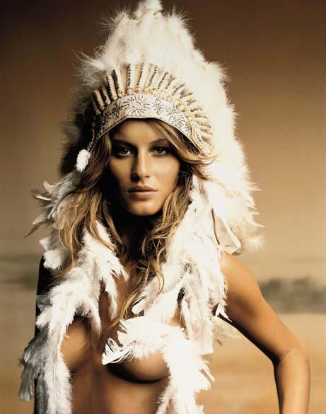 Gisele foi vestida como uma tradicional índia americana para uma campanha publicitária em 2008