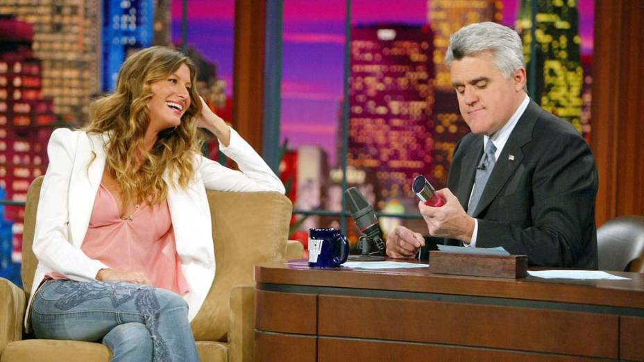 "Gisele, em entrevista no programa ""The Tonight Show with Jay Leno"", em 2004"