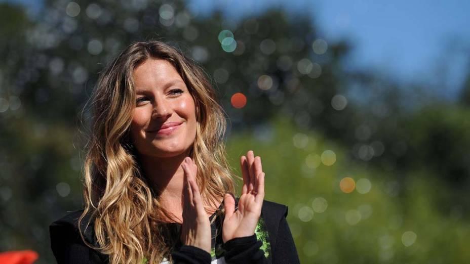 Desde 2009, Gisele é Embaixadora da Boa Vontade pelo Programa das Nações Unidas para o Meio Ambiente. Na foto, participou de evento no parque Washington Square, em Nova York, para promover ações ambientais