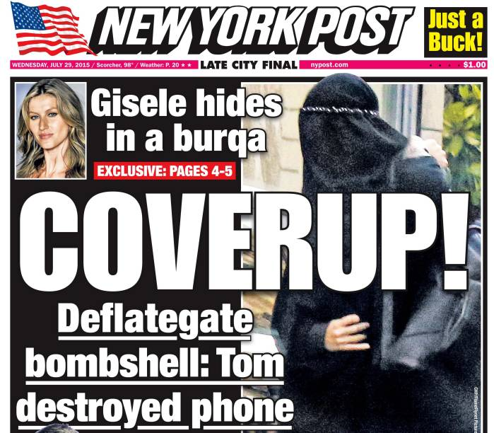 Capa do jornal New York Post, com Gisele Bündchen de burca