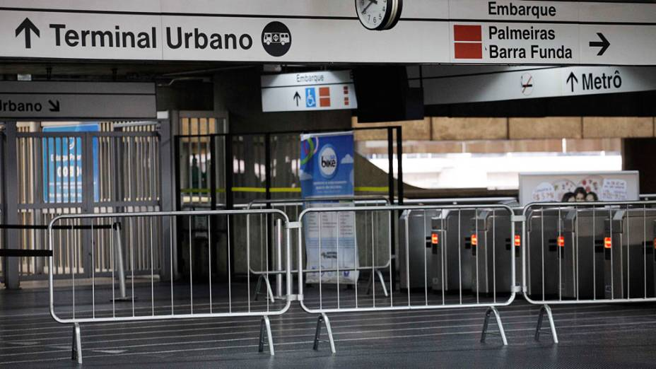 <br><br>   <br><br> Estação Corinthians-Itaquera vazia durante greve dos trabalhadores do Metro e das linhas 11 e 12 da CPTM<br><br>   <br><br>  <br><br>