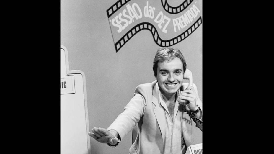 """Gugu Liberato apresentando o programa Sessão Premiada"""", em 1981"""