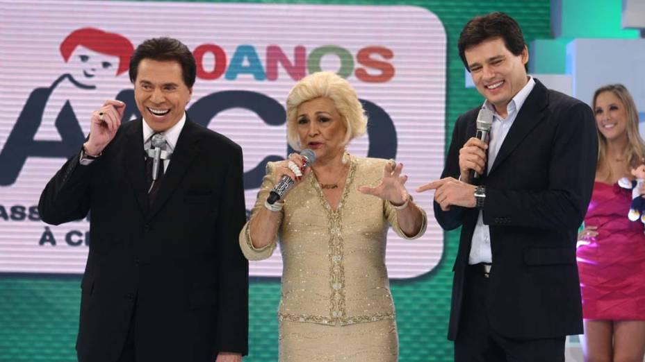 Silvio Santos, Hebe Camargo e Celso Portiolli na 13º edição do Teleton, evento em prol da AACD, exibido pelo SBT em 2010