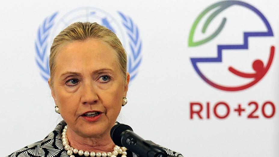 Secretária de Estado americana Hillary Clinton discursa durante Conferência das Nações Unidas sobre Desenvolvimento Sustentável, Rio +20