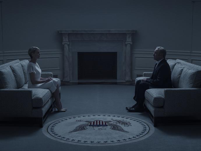 Claire (Robin Wright) e Frank Underwood (Kevin Spacey) na quarta temporada de House of Cards