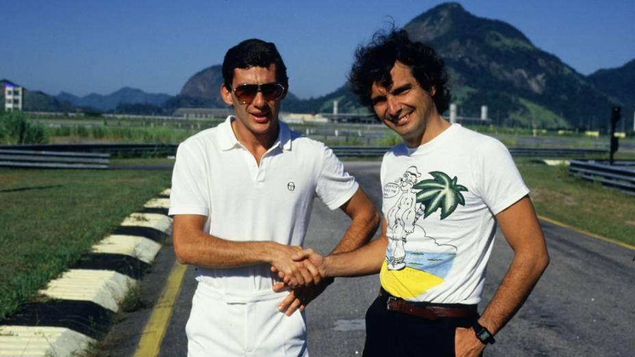 Ayrton Senna e Nelson Piquet no autódromo de Jacarepaguá em 1986