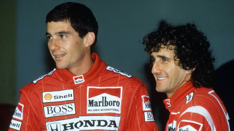 Ayrton Senna e Alain Prost, companheiros de equipe na McLaren