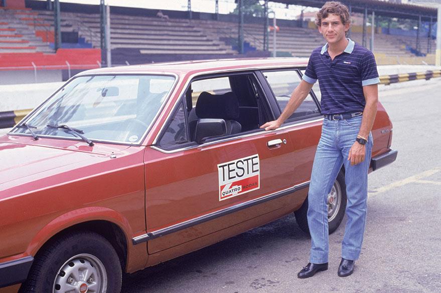 Ayrton Senna testou automóveis nacionais para a revista Quatro Rodas, no circuito de Interlagos em 1984