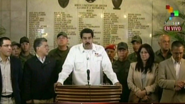 Vice-presidente venezuelano Nicolás Maduro, anuncia a morte de Hugo Chávez