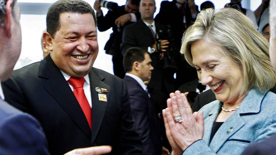 Hugo Chávez e Hillary Clinton