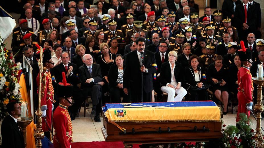 O vice-presidente da Venezuela Nicolas Maduro, no funeral de Estado de Hugo Chávez