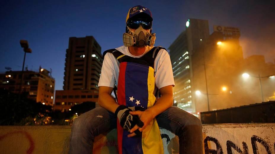 Manifestantes contra o governo venezuelano na Praça Altamira, em Caracas