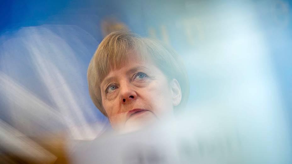 A chanceler alemã Angela Merkel durante coletiva de imprensa em Berlim