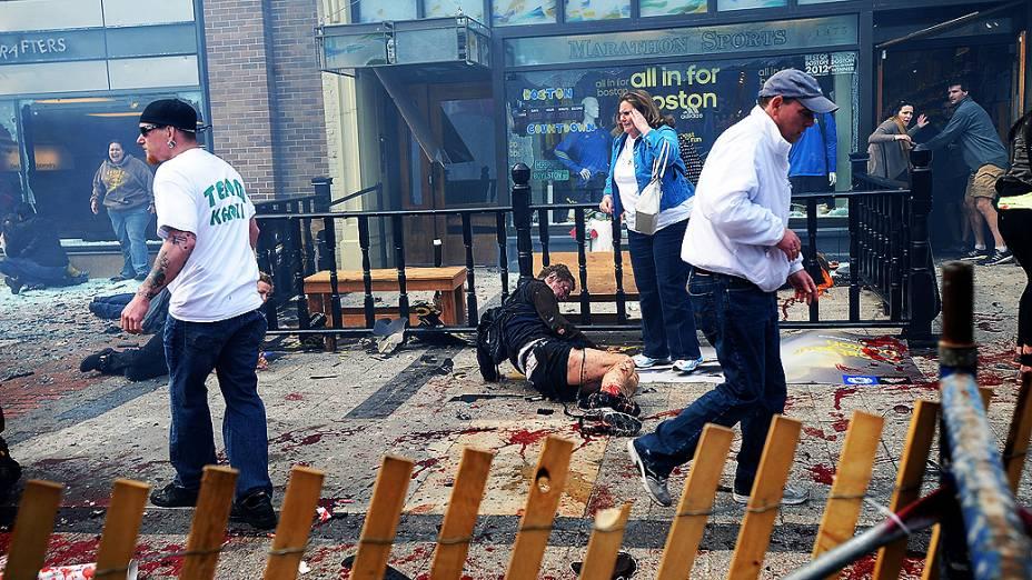 Momento da explosão na maratona de Boston
