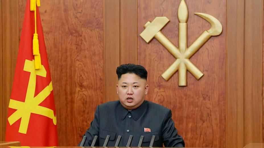 O ditador norte-coreano Kim Jong-un fala sua mensagem de Ano Novo
