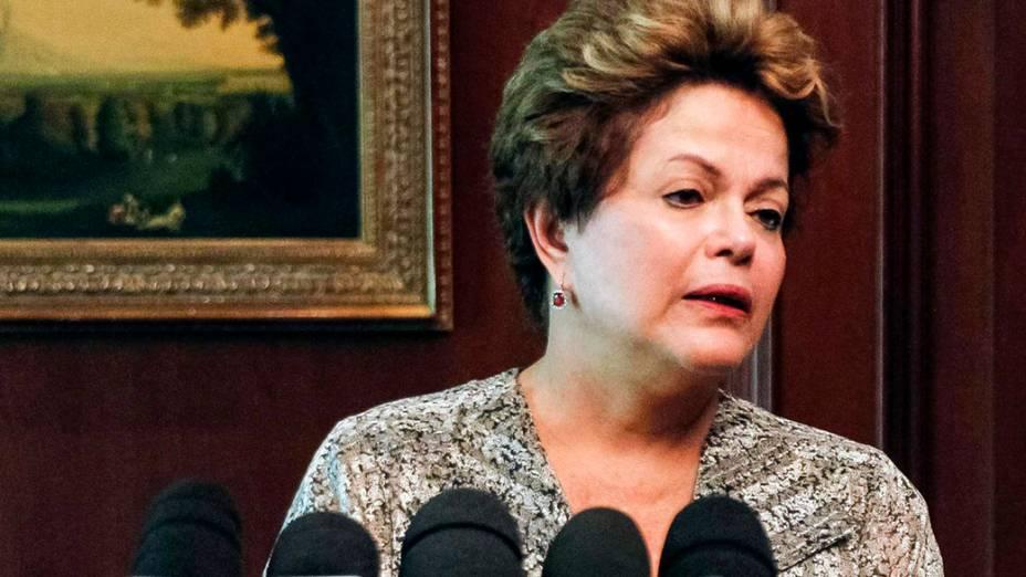 A presidente Dilma Rousseff durante discurso sobre o incêndio na boate Kiss, em Santa Maria