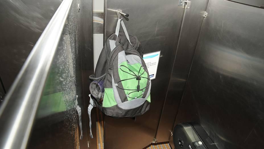 A mochila de Alexis Aaron foi encontrada em um dos banheiros do edifício