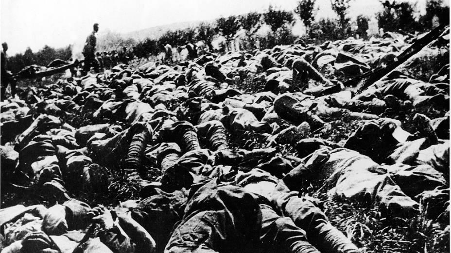 Vítimas de ataques com gás na I Guerra Mundial. Arma provocou cerca de 100 000 mortes no conflito