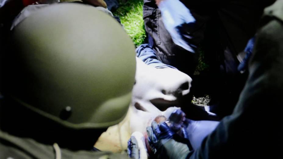 Dzhokhar Tsarnaev no momento de sua captura pelas autoridades policiais em Watertown, Massachusetts